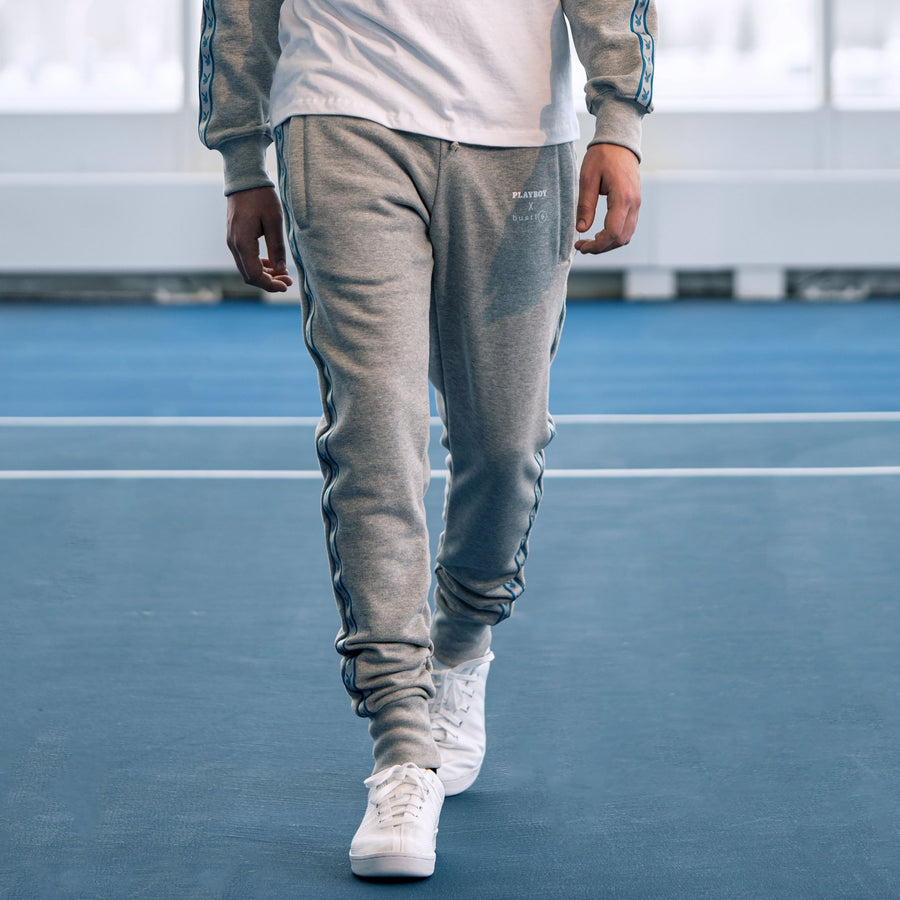 Playboy x Bustle | Millennial | Joggers | Grey w Blue Rabbit Head Tape - bustleclothing.shop