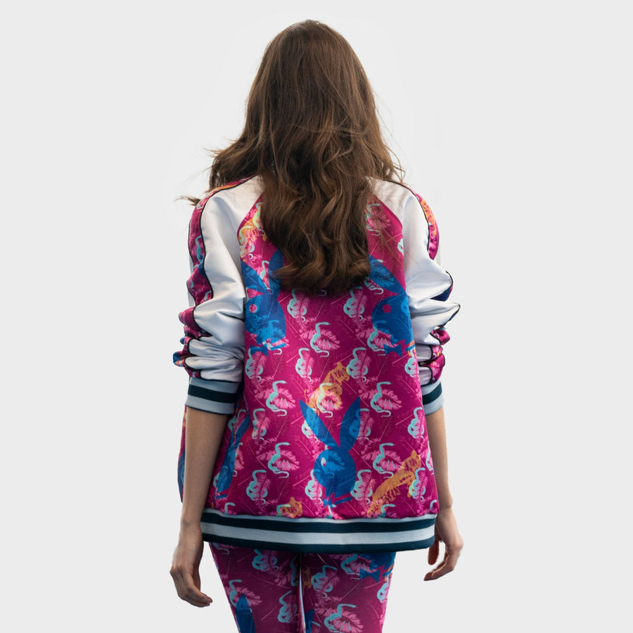 Playboy x Bustle | Millennial | Satin Bomber Jacket | Fuchsia Custom Print Satin + White Contrast - bustleclothing.shop