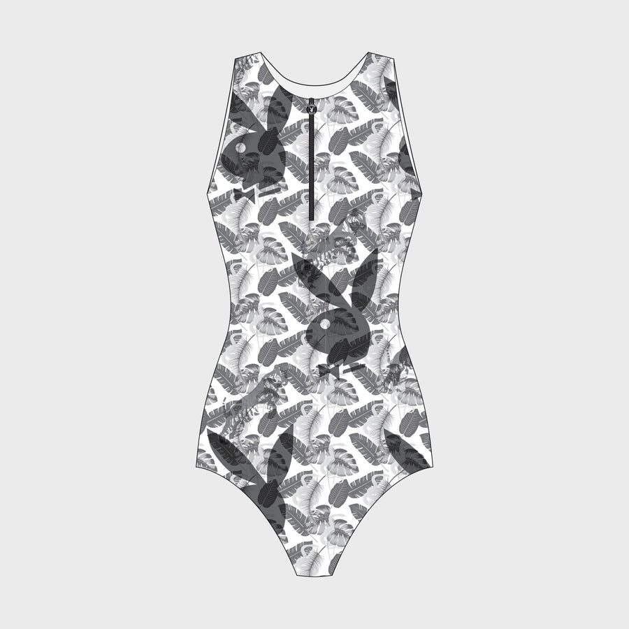 Playboy x Bustle | Sleeveless Bodysuit | Greyscale Custom Print - bustleclothing.shop