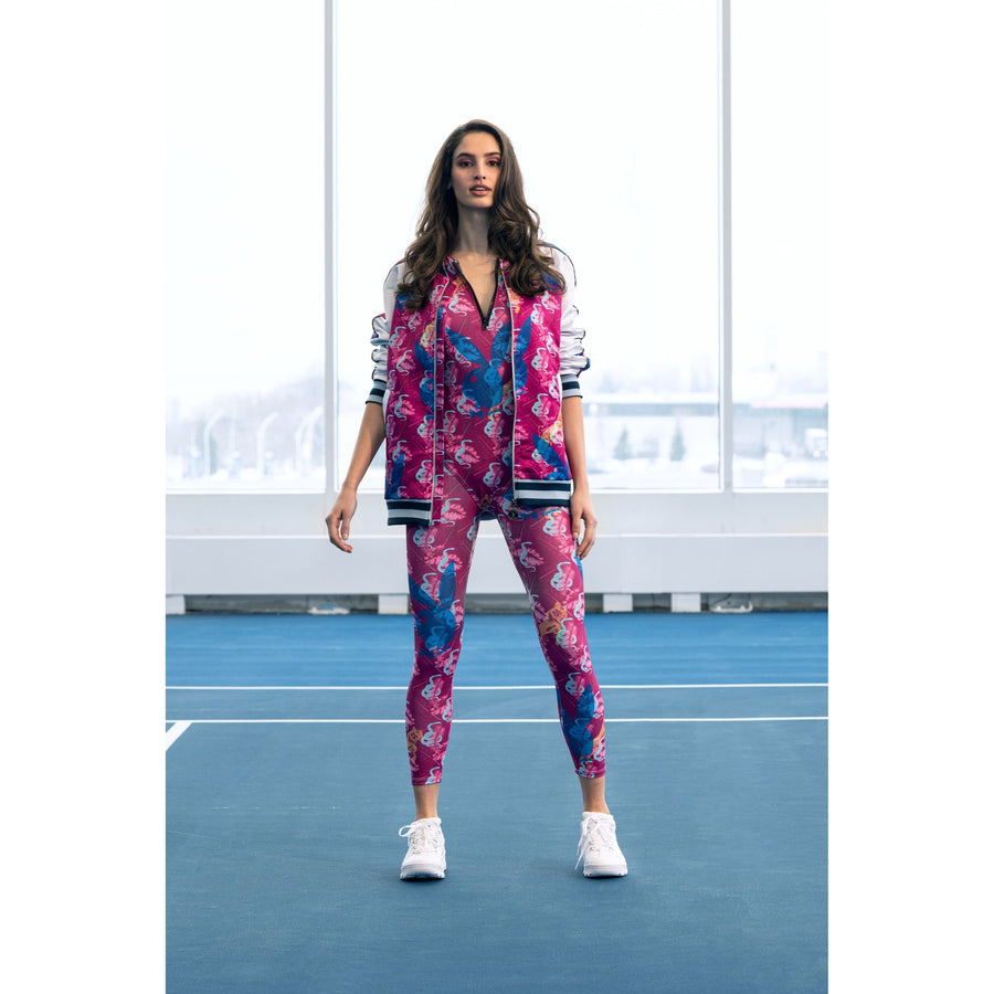 Playboy x Bustle | Streetwear | All-Over Print Leggings | Fuchsia Custom Print - bustleclothing.shop