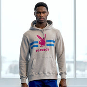 Playboy x Bustle | Streetwear | Hoodie | Grey w Fuchsia Rabbit Head + Blue Stripes - bustleclothing.shop