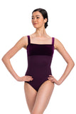 Square Neck Velvet Bust Leotard - Adult