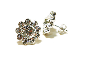Crystal Flower Earrings - Pierced
