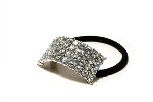 Four Row Clear Rhinestone Ponytail Holder