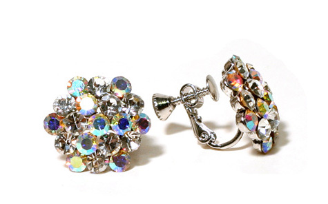 Cluster Earrings - AB - Clip On