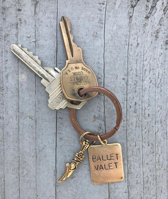 Ballet Valet Dance Mom Gold Keychain