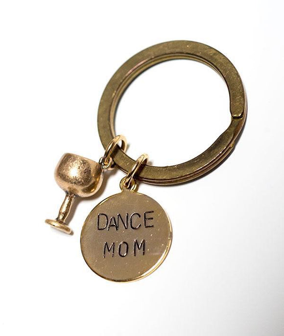 Dance Mom Gold Keychain