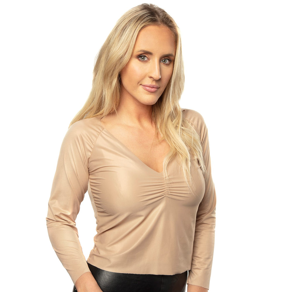 Almond Ruched V-Neck