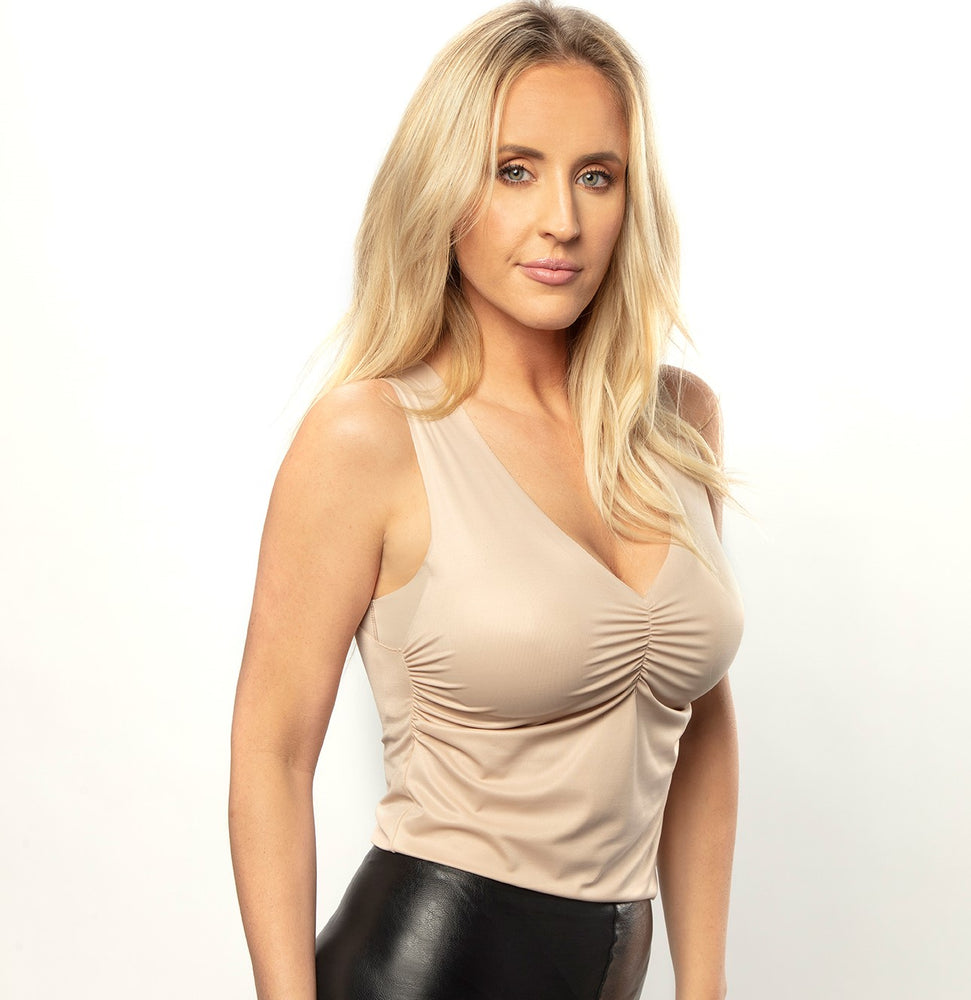 Sleeveless Ruched V-Neck Almond