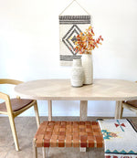 Load image into Gallery viewer, Oval White Oak Herringbone Dining Table with X-Shaped Cross Wood Legs