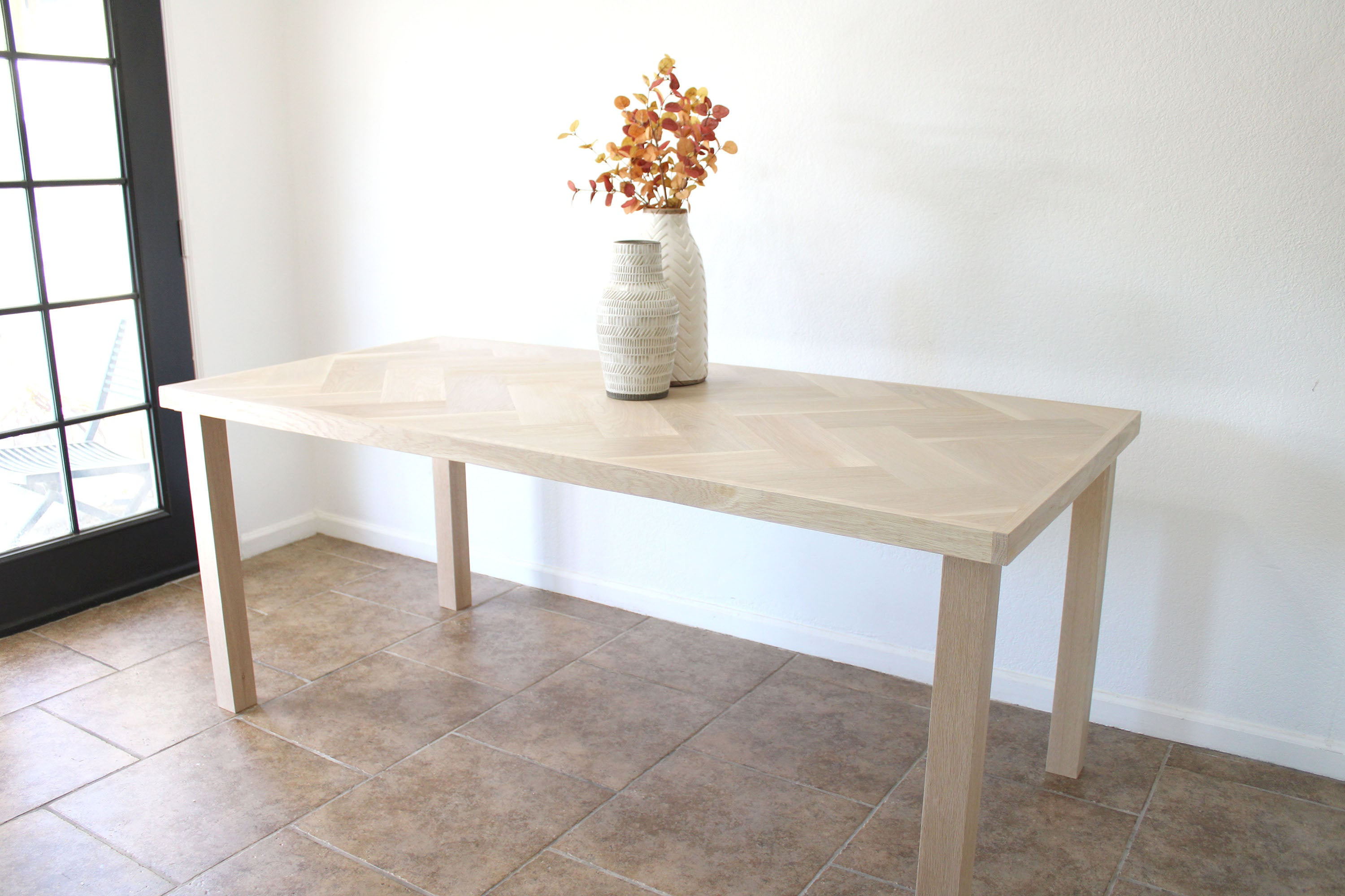 Signature White Oak Wood Herringbone Dining Table- Hairpin or Solid Wood Legs