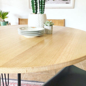 Round Solid White Oak Dining or Bistro Table
