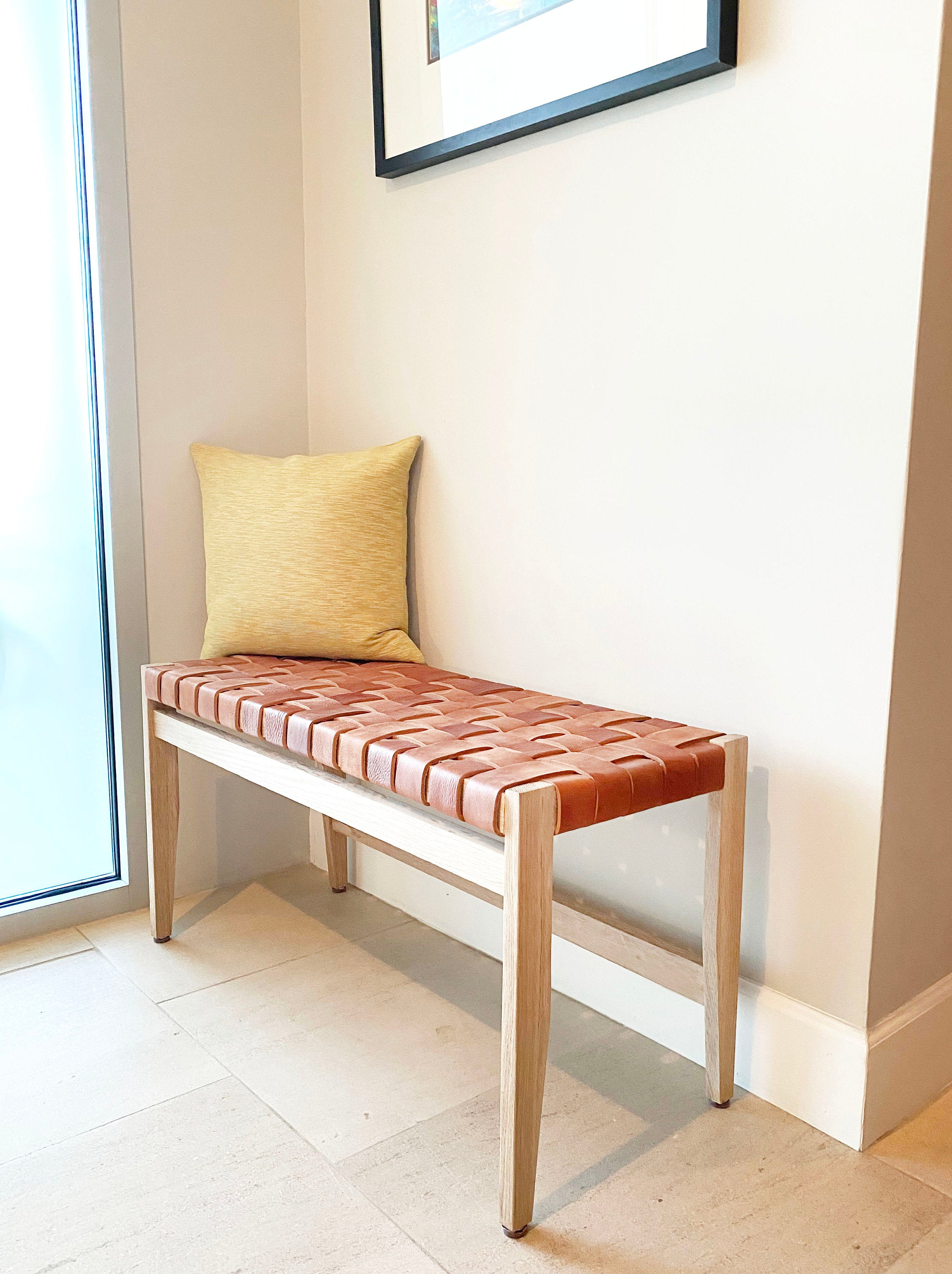 Cognac Woven Leather and Solid Oak Wood Bench