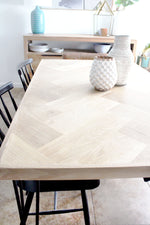 Load image into Gallery viewer, White Oak Herringbone Dining Table