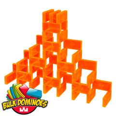 Bulk Dominoes - Clear Neon Orange
