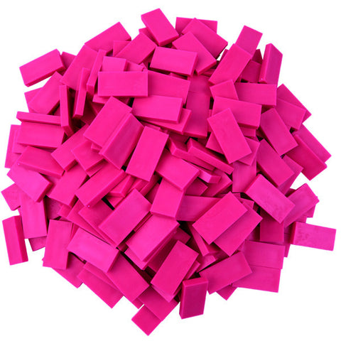 fuchsia plastic toppling dominoes