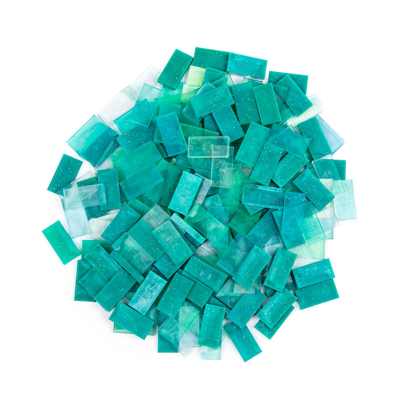 Bulk Dominoes - Mini Clear Glitter Teal Mix