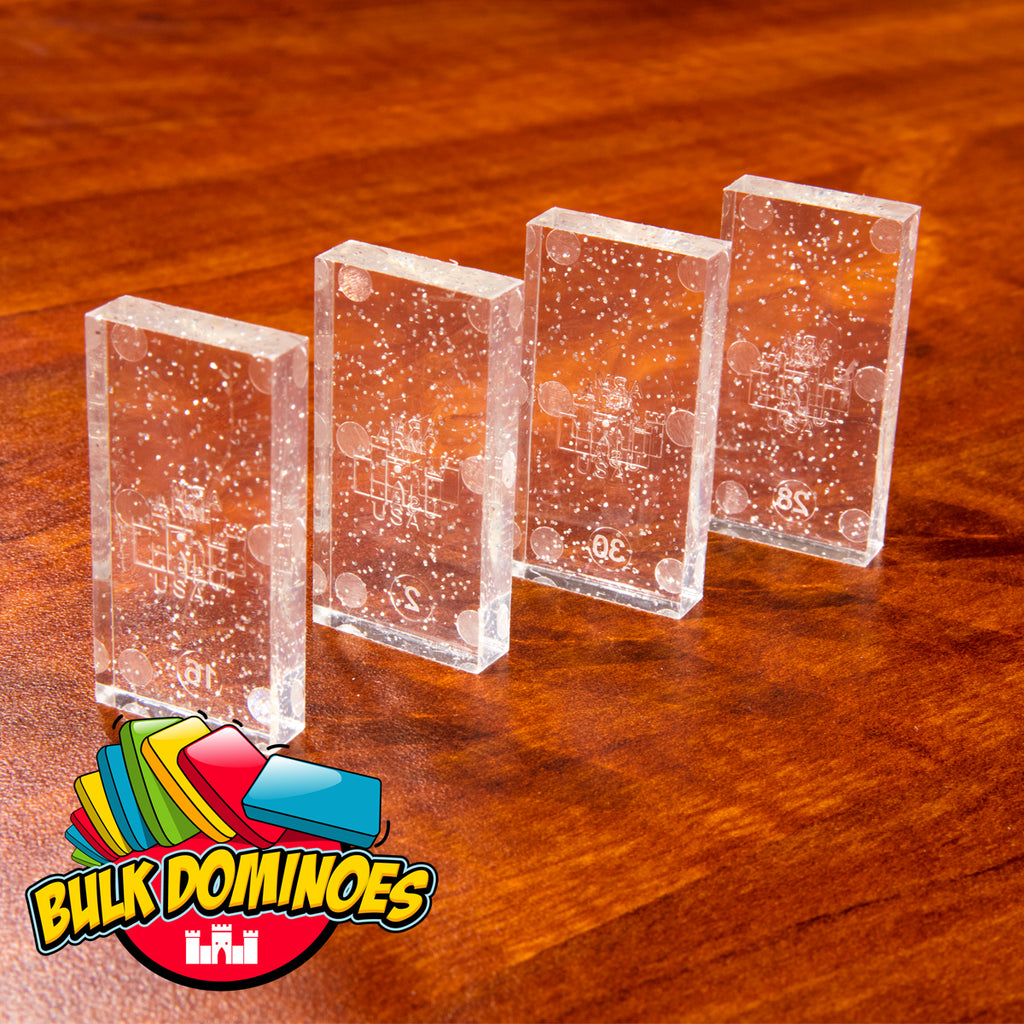 Bulk Dominoes - Clear Glitter