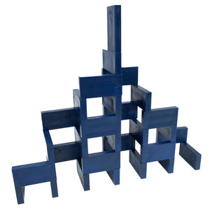 navy blue plastic domino tower