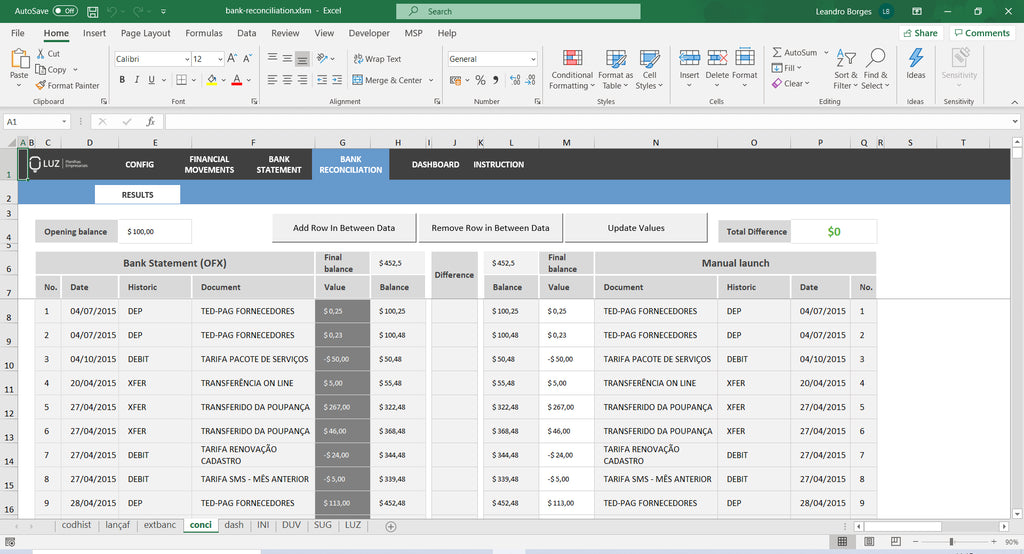 Bank Reconciliation Worksheet in Excel 4.0 - LUZ Templates