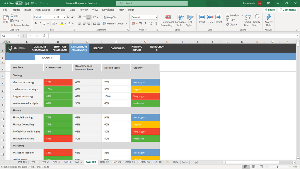 Business Diagnostic Tool Excel - LUZ Templates
