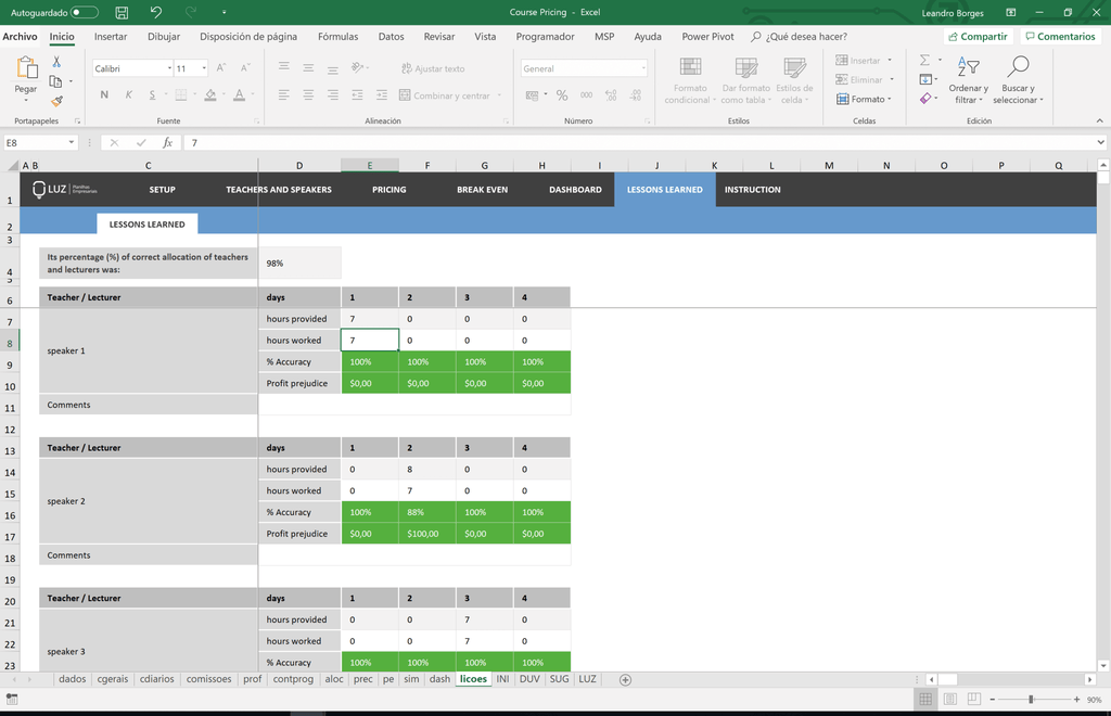 Excel Course Pricing Worksheet - LUZ Templates