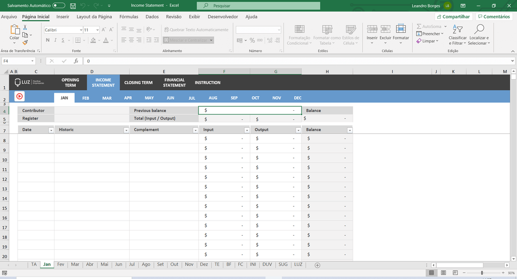 Income Statement Excel Spreadsheet - LUZ Templates
