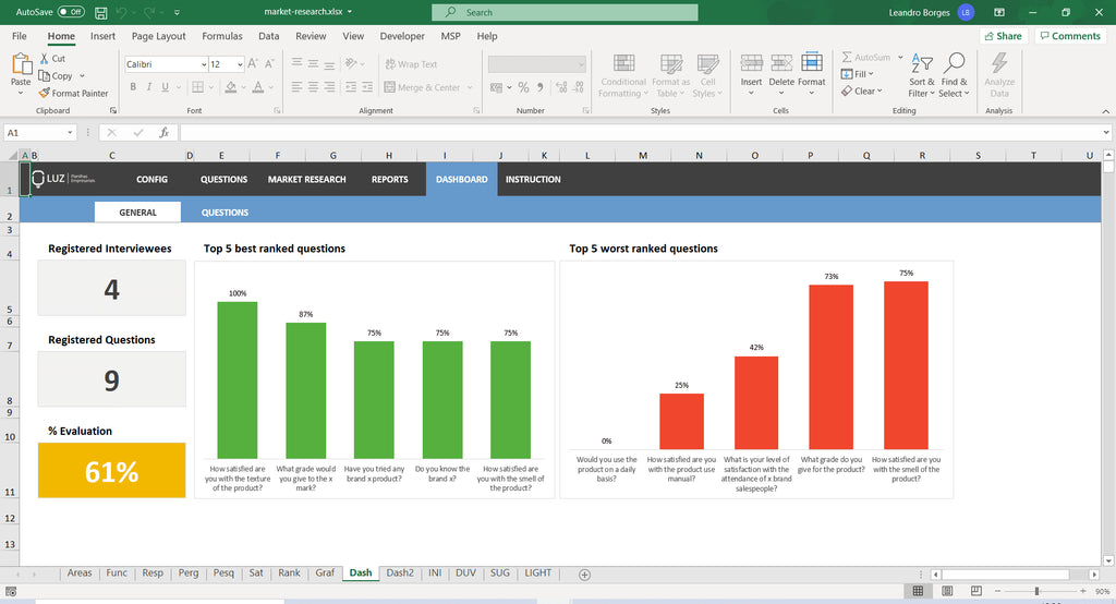 Market Research Worksheet in Excel 4.0 - LUZ Templates