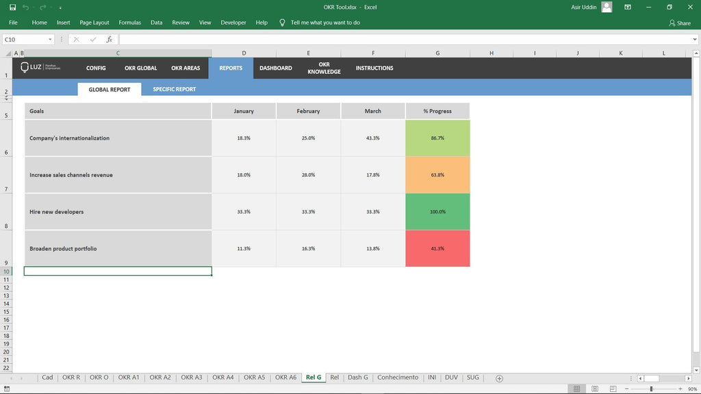 OKR Tool – Spreadsheet Template - LUZ Templates
