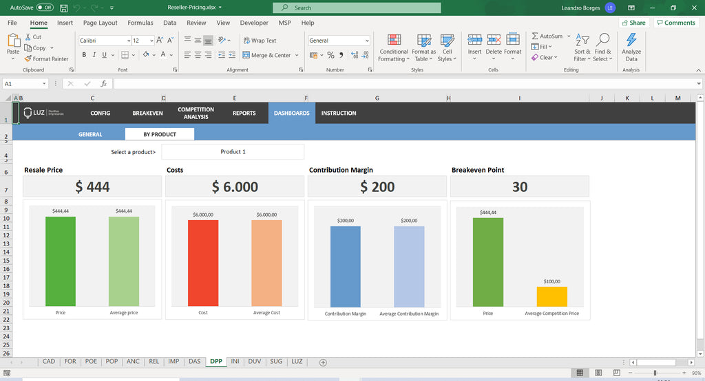 Pricing for Reseller in Excel 4.0 - LUZ Templates