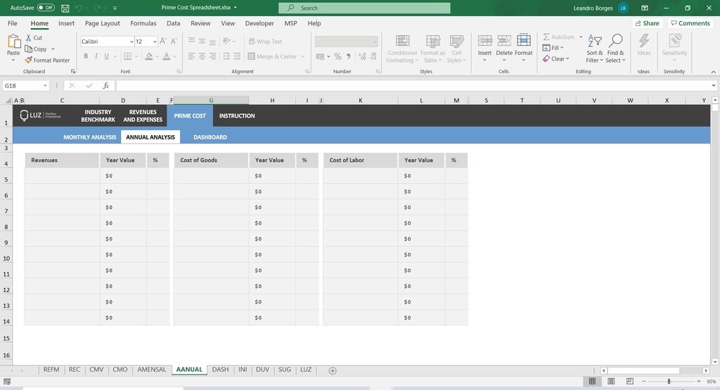 Prime Cost Worksheet in Excel 4.0 - LUZ Templates