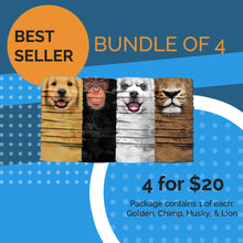 Load image into Gallery viewer, Bandanimals™ Best Sellers (Golden, Chimp, Husky, Lion)