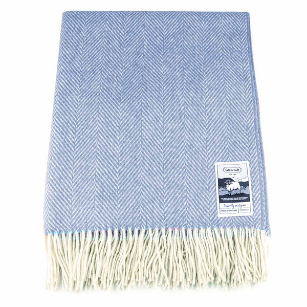 100% British Wool Fashion Blanket - Bluebell - Poe and Company Limited - Blanket - Flat Cap