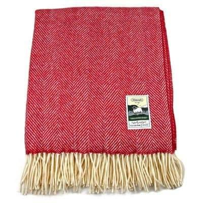 100% British Wool Fashion Blanket - Cherry Cross - Poe and Company Limited - Blanket - Flat Cap