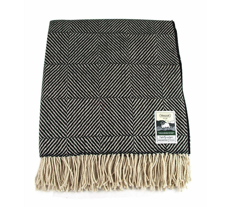 100% British Wool Fashion Blanket - Humbug - Poe and Company Limited - Blanket - Flat Cap