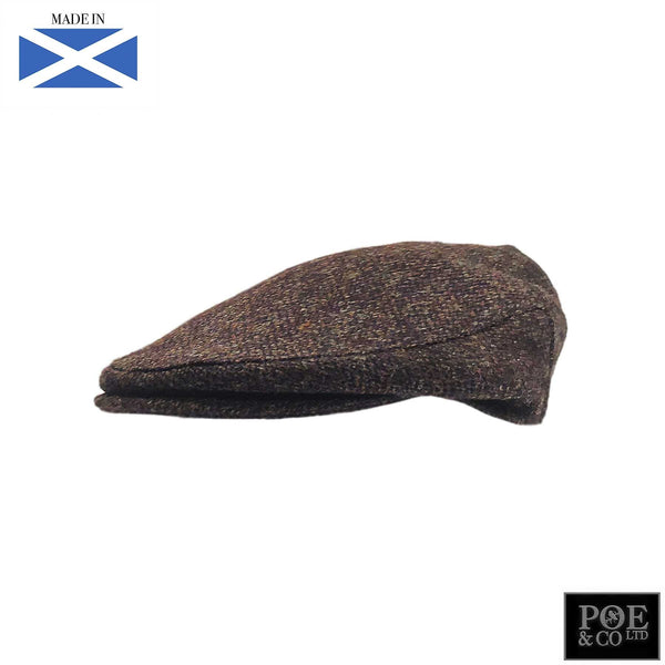 Ambleside Flat Cap in Brownestone Harris Tweed - Poe and Company Limited - Flat Cap - Flat Cap