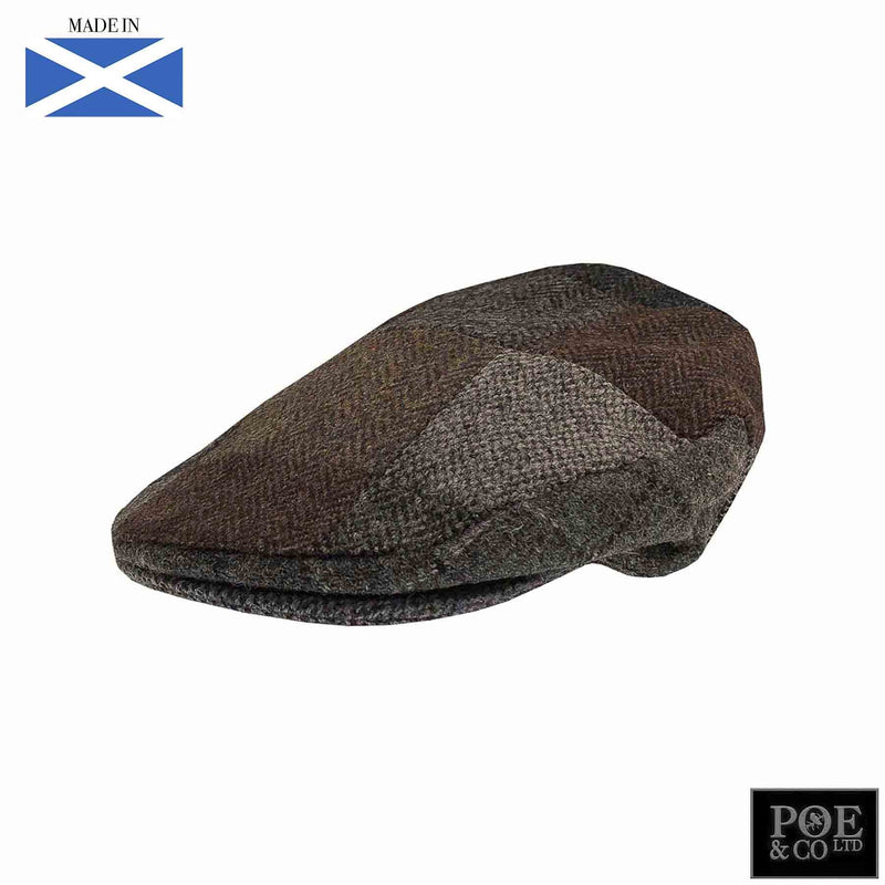 Ambleside Flat Cap in Patchwork Harris Tweed - Poe and Company Limited - Flat Cap - Flat Cap
