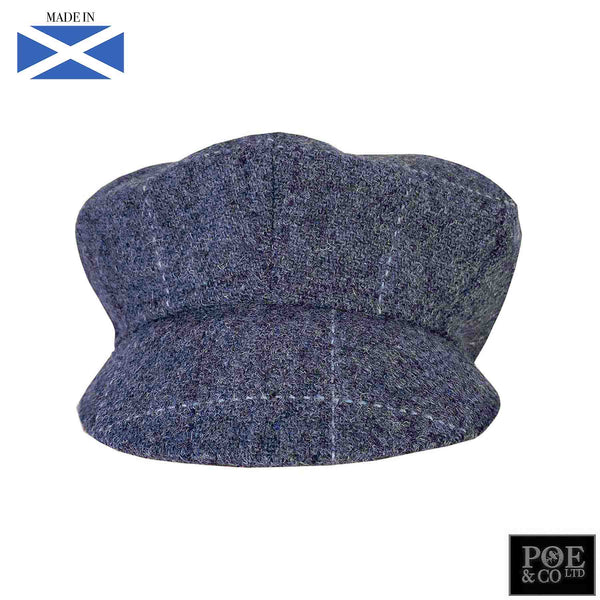 Bubssie Flat Cap in Bellflower Harris Tweed - Poe and Company Limited - Flat Cap - Flat Cap