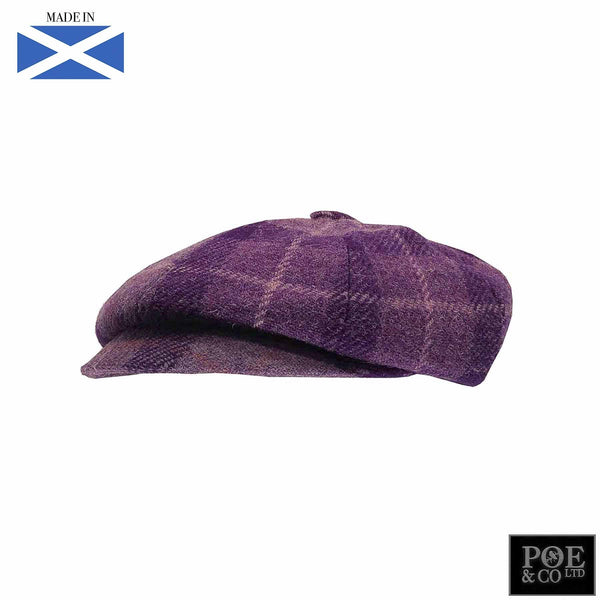 Bubssie Flat Cap in Lavender Harris Tweed - Poe and Company Limited - Flat Cap - Flat Cap