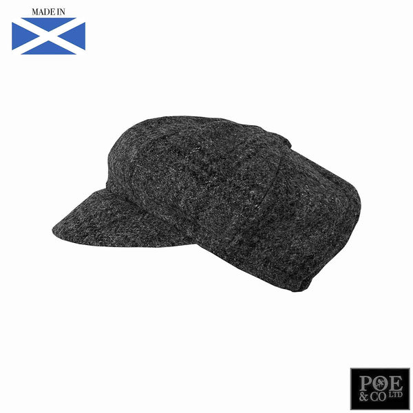 Bubssie Flat Cap in Meredith Grey Harris Tweed - Poe and Company Limited - Flat Cap - Flat Cap