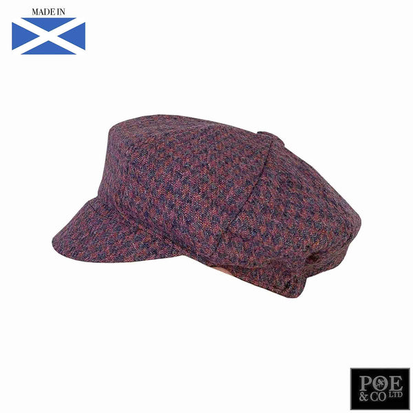 Bubssie Flat Cap in Raspberry Parade Harris Tweed - Poe and Company Limited - Flat Cap - Flat Cap