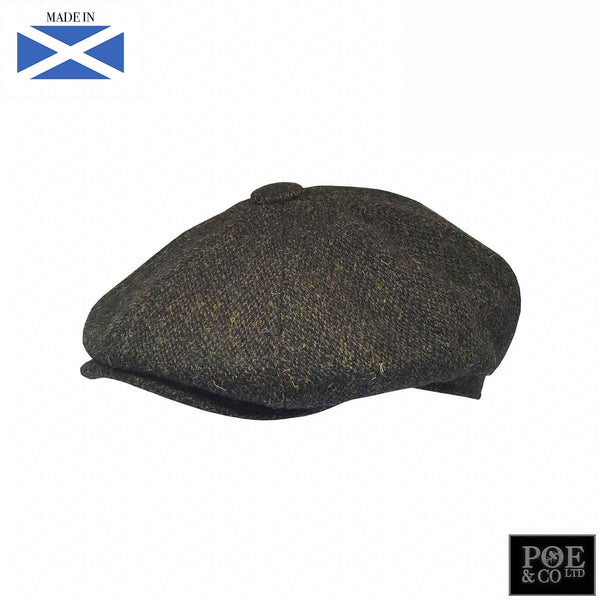 Stafford Flat Cap in Brownestone Harris Tweed - Poe and Company Limited - Flat Cap - Flat Cap