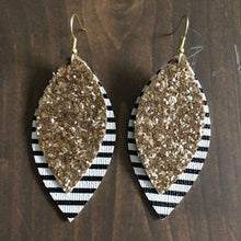 Load image into Gallery viewer, Double Layer Leather Teardrop Leaf Earrings - earringsly