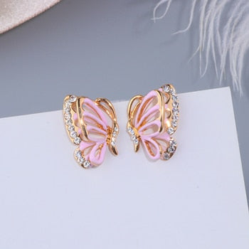 Hollow Crystal Butterfly Stud Earrings