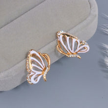 Load image into Gallery viewer, Hollow Crystal Butterfly Stud Earrings
