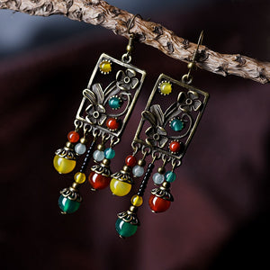 Ethnic stone beads multi-color earrings