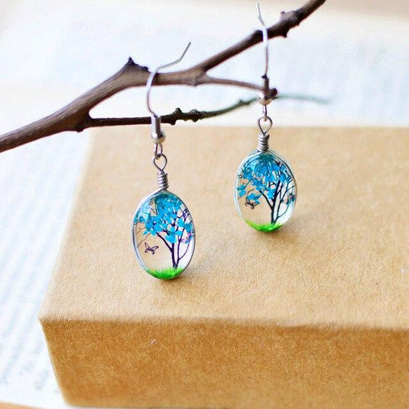 Glass Floating Flower Tree Drop Earrings - earringsly