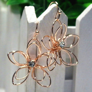 Hollow double-layer flower temperament earrings