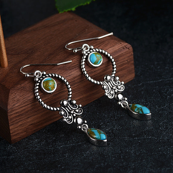 Vintage Silver Turquoise Gemstone Drop Earrings