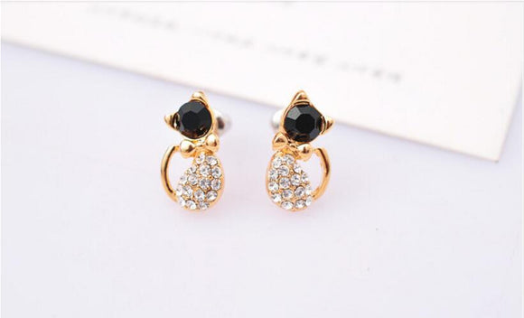 Rhinestone Cute Cat Bow Stud Earrings
